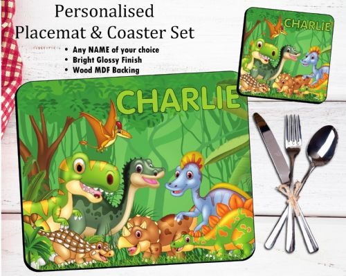 Personalised Kids Table Placemat & Coaster Set N39 - Dinosaurs Design